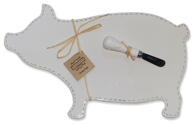 2 in 1 Pig Cheese Plate and Message Board traditional-serveware