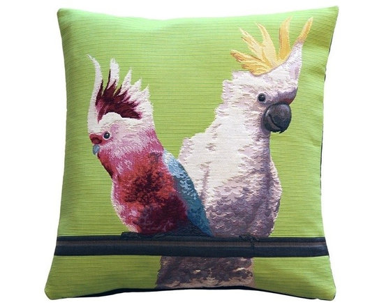 Pillow Decor Ltd. - Pillow Decor - Cockatiel Birds Tapestry Throw Pillow - Who can resist the playful and quizzical expression of the cockatoo. This pillow will give you plenty to squawk about and will bring life and color to your home.