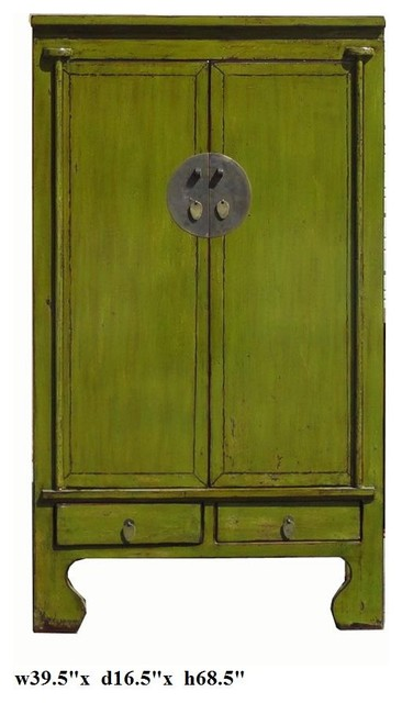 Chinese Lime Green Lacquer Moon Face Tall Cabinet Armoire