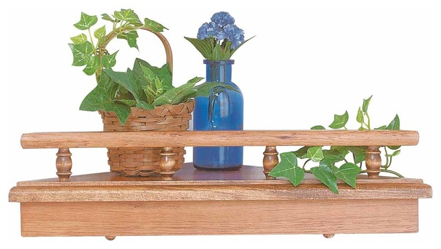 Shelf Unfinished Pine, Corner Shelf Unassembled 18 in.W x 9 in. deep - Traditional - Display And ...