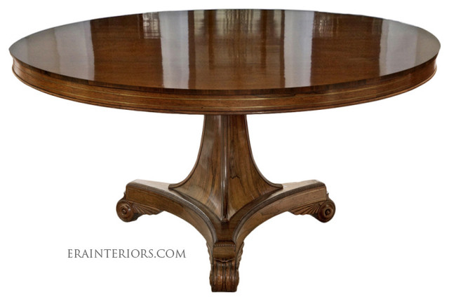 English round dining table with tripartite base for Traditional dining table bases