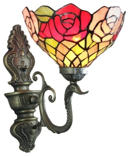 Antique Tiffany Wall Sconces : Iron Art Antique 1 Light Tiffany Glass Roses Wall Sconces - Victorian - Wall Sconces - by ...