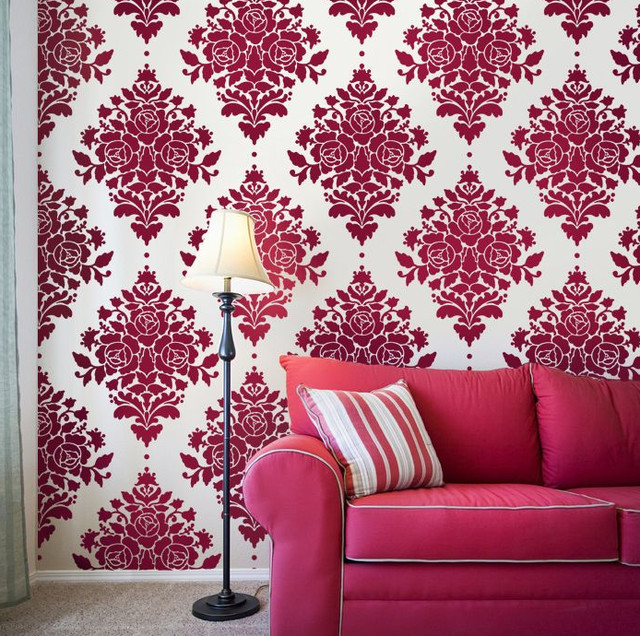 damask rose stencil eclectic wall stencils by janna