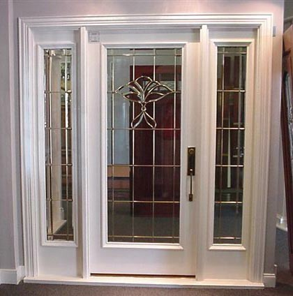 Designer glass entry doors and sidelights front doors for Exterior entry doors with glass