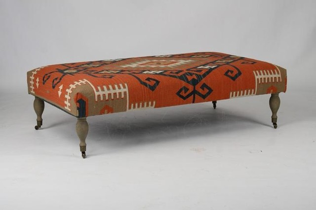 zentique kilim ottoman red traditional footstools and