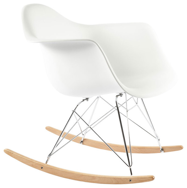 The Mid Century Rocking Chair - White modern-armchairs-and-accent-chairs