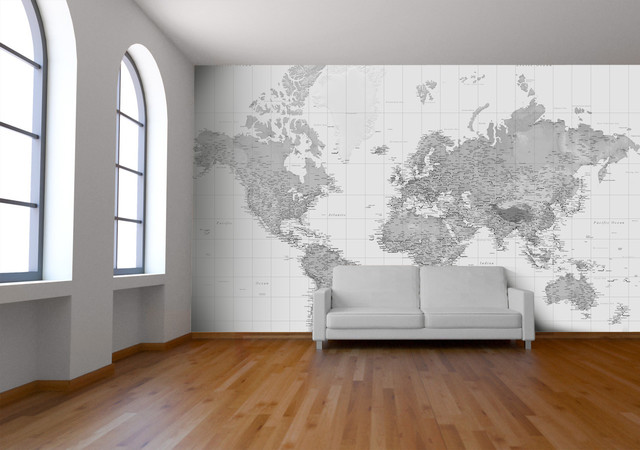 Black and white wallpaper wall mural contemporary for Black and white london mural wallpaper