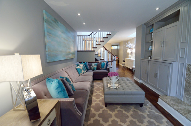 Turquoise Living Room transitional-living-room