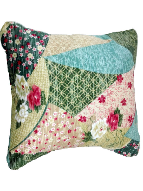BohoCHIC Maui - BohoChic Patchwork Effect Pillow Cover - This cushion has been hand crafted from a beautiful Japanese sateen fabric with a patchwork effect. Traditional Hawaiian aesthetic fuses with Modern in this cushion cover's charming design.