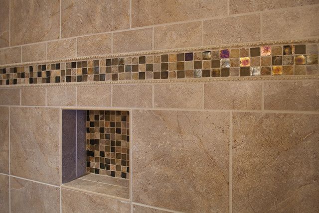 Master Bathroom Shower Closeup On Accent Tile Traditional Bathroom Other Metro By