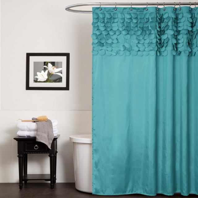 Lush decor lillian turquoise shower curtain contemporary for Orange and grey bathroom accessories