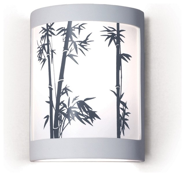 Japanese Wall Sconces: Konishi Asian Themed Silhouette Wall Sconce Depicting