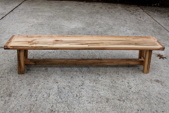 Farmhouse-Style Wooden Bench, Ambrosia Maple by The Second Ones