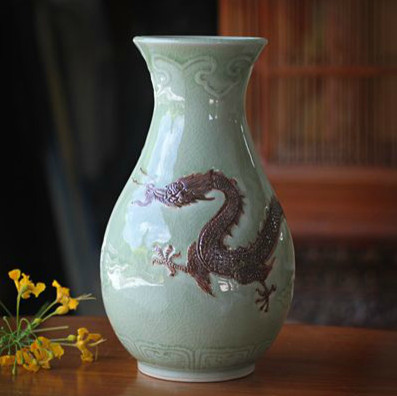 "Novica ""Dragon Mystery"" Celadon Ceramic Vase asian-vases"