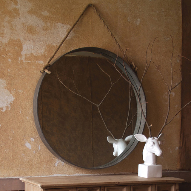 Large round mirror with rope eclectic wall mirrors for Big circle mirror