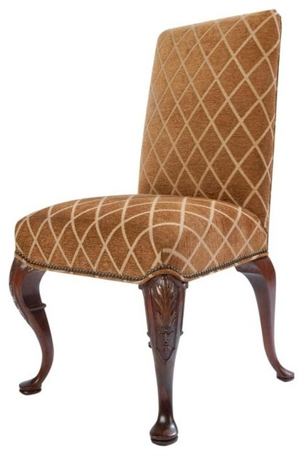 Full upholstered queen anne style side chair traditional - Queen anne style living room furniture ...