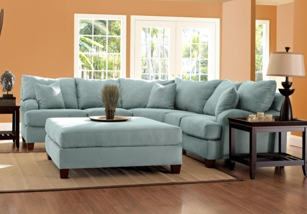 Klaussner Canyon Sectional Sofa In Sky Blue Microsuede