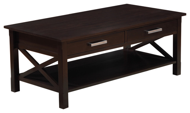Kitchener 48 inch wide coffee table in dark walnut brown for 12 inch end table