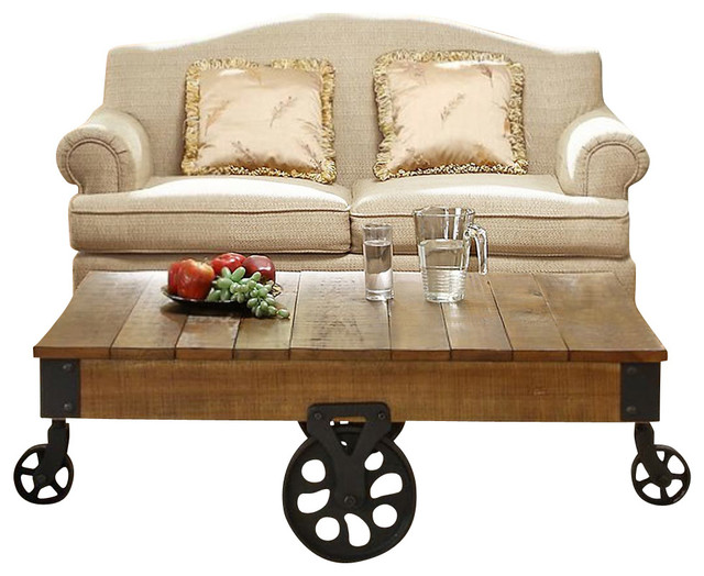 Rectangular Cocktail Table With Iron Casters Traditional Coffee Tables
