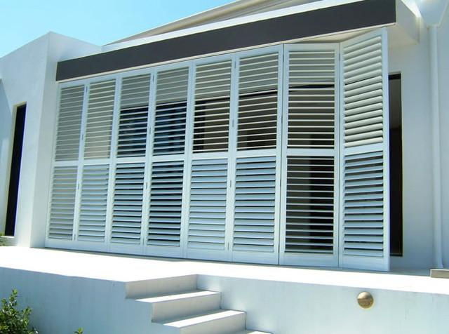 aluminum exterior plantation shutters modern deck