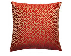 Duralee Red Greek Key Pillow contemporary-pillows