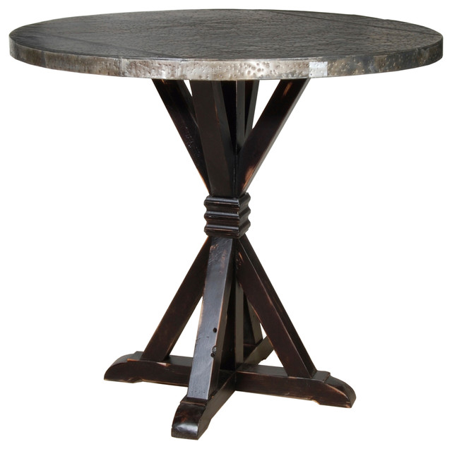Counter Height Zinc Table : Carlo Bar Table with Zinc Top - Rustic - Indoor Pub And Bistro Tables ...