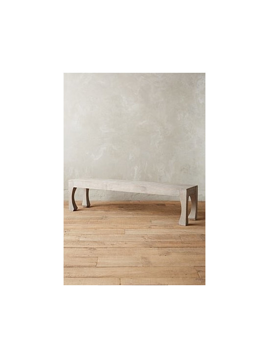 Anthropologie - Navarra Collection Dining Bench - Mango wood. Distressed finish. Wipe with dry cloth. Imported