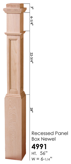 red oak box stair newel post