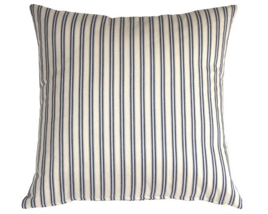 Pillow Decor - Pillow Decor - Catalina Ticking Blue Throw Pillow - Hand-woven and yarn dyed, the Catalina Ticking Pillow is 100% cotton. Alternating vertical stripes of cream, indigo and soft pale blue show off the simplicity and the subtle style to this pillow. The traditional yet contemporary Indian design is cleverly casual and combines easily with the other pillows in similar tones. Try the Catalina ticking pillow with block prints, ikats, solids and textures for a sophisticated decor statement.