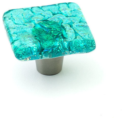 Pearl glass knobs and pulls turquoise 1 5 square for Turquoise cabinet pulls