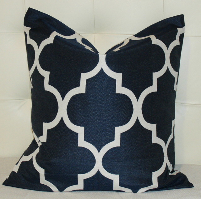 Navy Blue Quatrefoil Pillow Cover contemporary-pillows