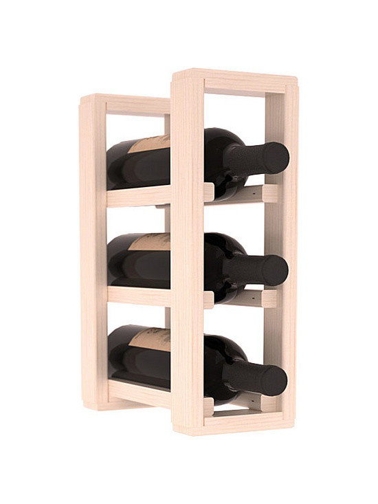 Wine Racks America® - 3 Bottle Counter Top/Pantry Wine Rack in Pine, White Wash Stain + Satin Finish - These counter top wine racks are ideal for any pantry or kitchen setting.  These wine racks are also great for maximizing odd-sized/unused storage space.  They are available in furniture grade Ponderosa Pine, or Premium Redwood along with optional 6 stains and satin finish.  With 1-10 columns available, these racks will accommodate most any space!!