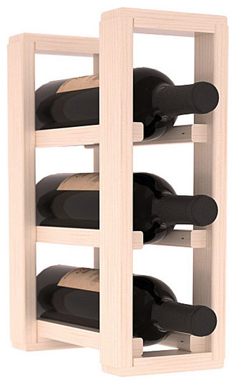 3 Bottle Counter Top/Pantry Wine Rack in Pine, White Wash Stain + Satin Finish contemporary-wine-racks