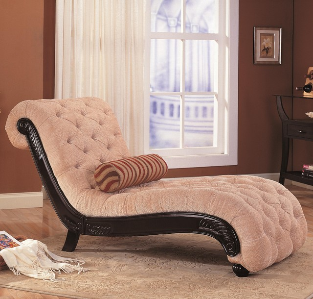 Accent Seating Traditional Chaise with Button Tufting and Carved Wood Trim traditional