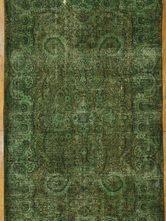 Olive Green Overdyed Rug - Rich color with hints of underlying pattern revive well-loved vintage Turkish carpets into a truly fabulous area rug.