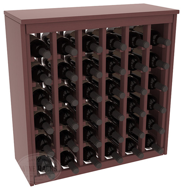 36 Bottle Deluxe Wine Rack in Pine with Walnut Stain + Satin Finish contemporary-wine-racks