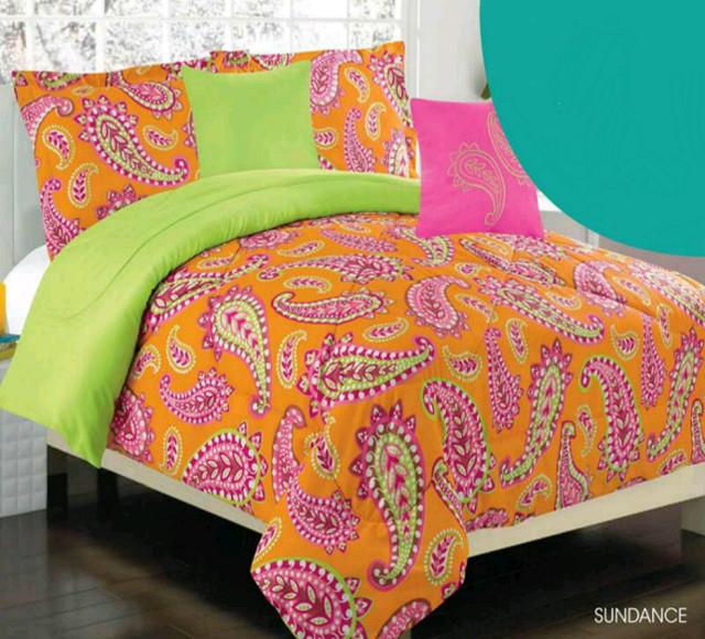 Girls kids bedding sundance orange green pink comforter - Red and orange comforter sets ...