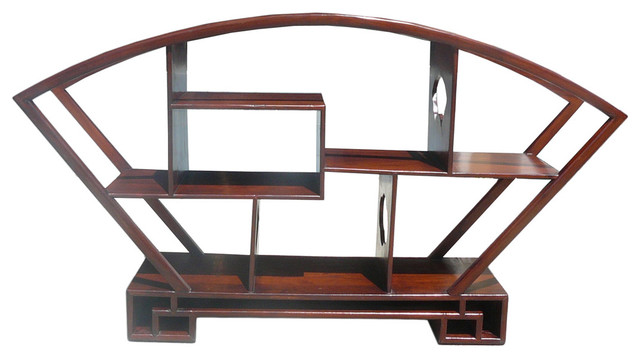... Brown Fan Shape Display Curio Cabinet asian-storage-units-and-cabinets
