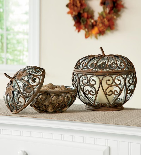 Small and Large Iron & Glass Pumpkins modern-holiday-decorations