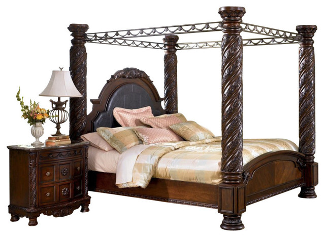 North shore california king canopy bed in dark wood furniture by bedroom furniture discounts for North shore california king canopy bedroom set