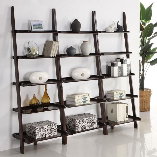 Walnut Five Tier 3 Piece Leaning Ladder Shelf Set