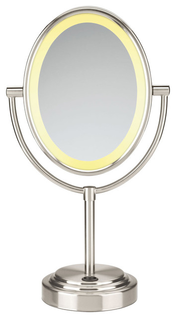 Conair Double-Sided Lighted Oval Mirror. Satin Nickel contemporary-makeup-mirrors