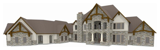 Stone Stucco Elevation : Old world front elevation with stone stucco and wood