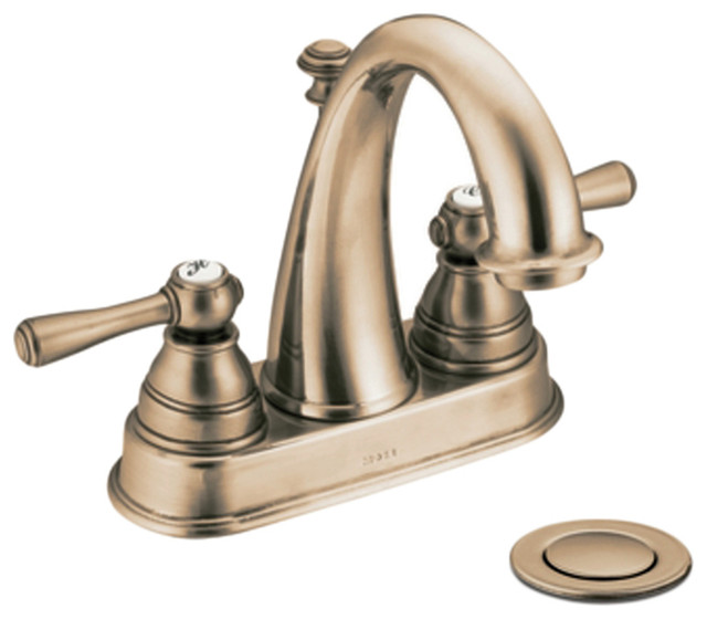 Moen 6121AZ Antique Bronze Bath Sink Faucet Two Lever Handle 4 Centerse