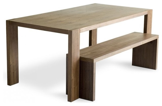 Gus Modern Plank Dining Table and Bench - modern - dining tables