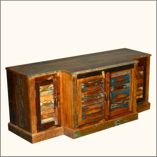 Rustic Extended Center Reclaimed Wood Shutter Door Storage Cabinet - Entertainment Centers And ...