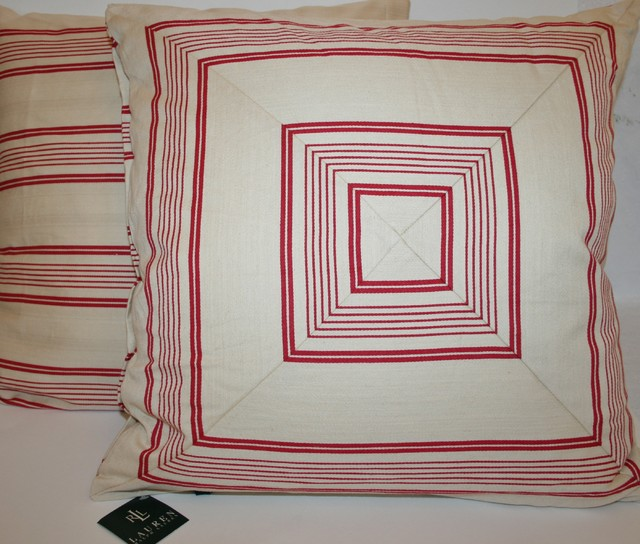 pillows Ralph Lauren Red Ticking Accent Pillow