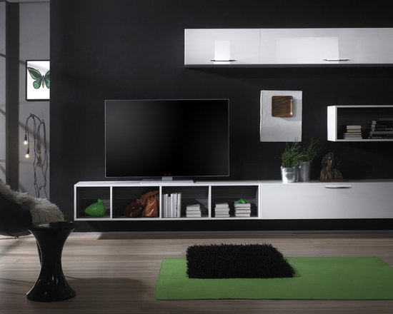 Modern Wall Unit TV Media Entertainment Center Club Composition 6 - $1,796.00 - Wall Unit Club Composition 6 by LC Mobili, Italy. Gorgeous modular system will give you an ability to be your own designer. Plenty of units to play with, unlimited possibilities to build your perfect Wall Unit, Entertainment Center or Work Station. All units are available in White High Gloss Lacquer finish except the Wall Mounted Desks (Comes in Gray only) and bookcases interior (Comes in Gray only)  to create a pleasant contrast. Please contact our office about details on customization of this wall unit.