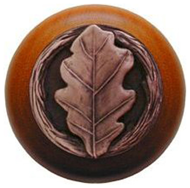 Notting Hill Oak Leaf/Cherry Wood Knob - Antique Copper rustic-cabinet-and-drawer-knobs