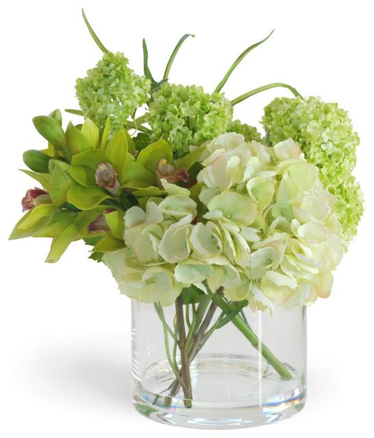 Hydrangea cymbidium green flower arrangement traditional
